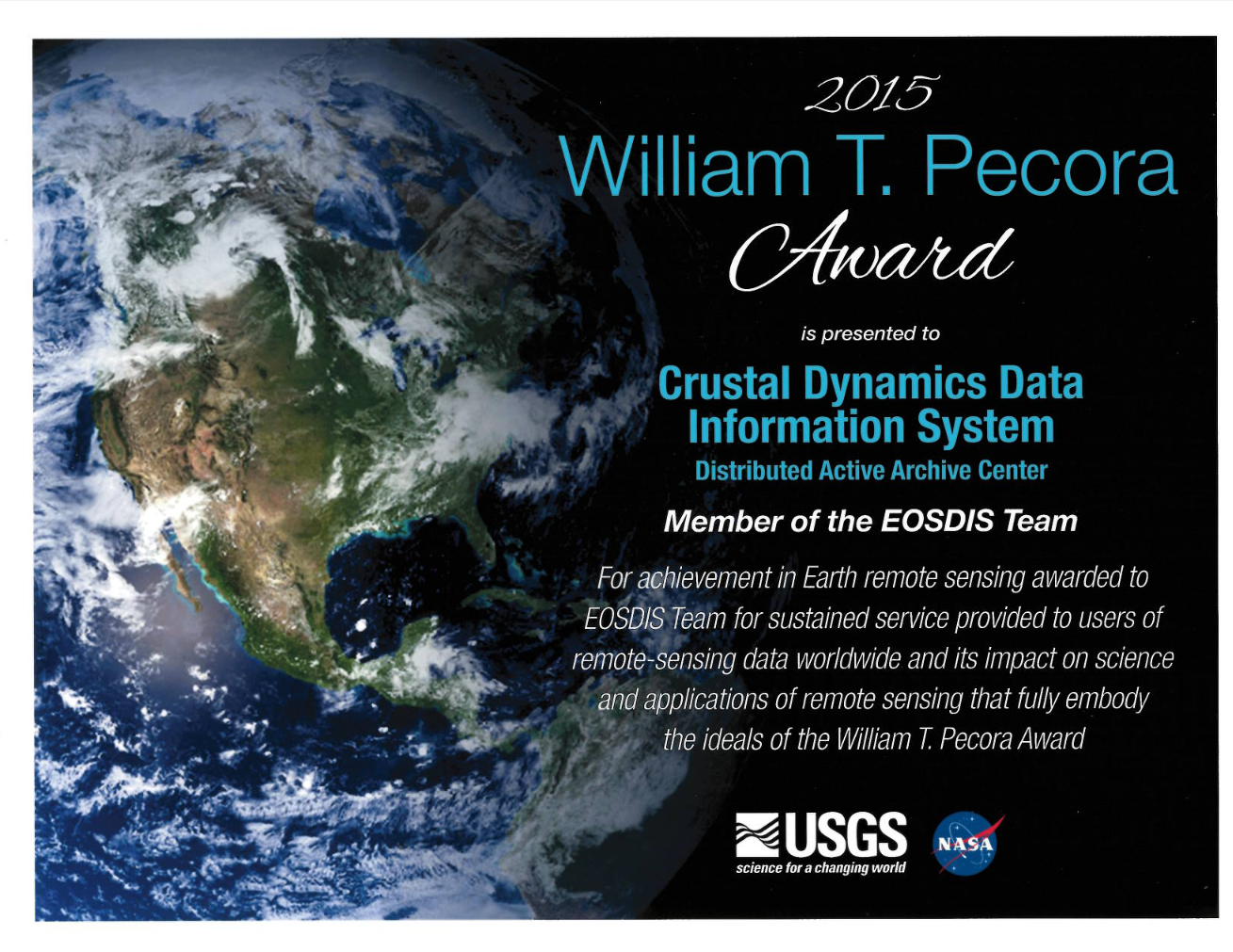 William T Pecora Award Certificate for 2015 for the NASA CDDIS